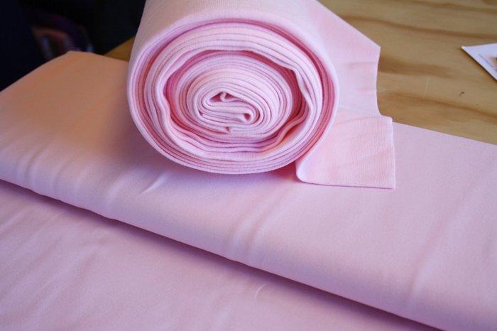 Bomuldsjersey ensfarvet lyserød - kold nuance fv. 8